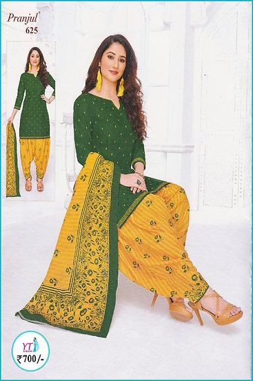 Pranjul Cotton Chudithar - Green Yellow Floral YT