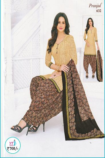 Pranjul Cotton Chudithar - Sandal Brown YT