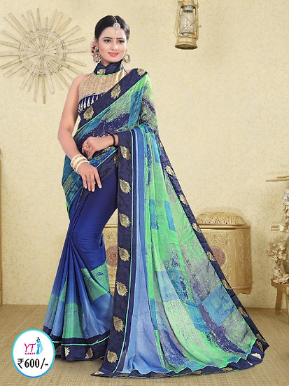 Georgette Chiffon with Lace Border - Royal Blue