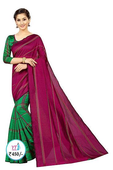YT Half Saree with Checks - Red Green