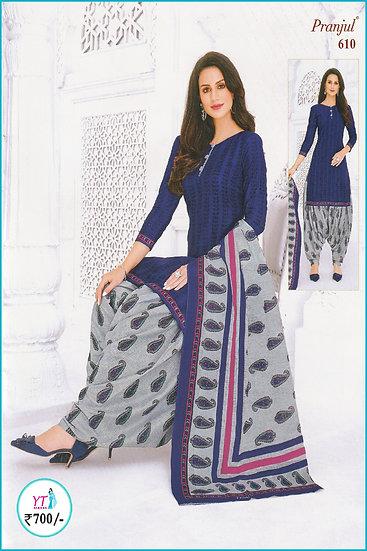 Pranjul Cotton Chudithar - Blue D Floral YT