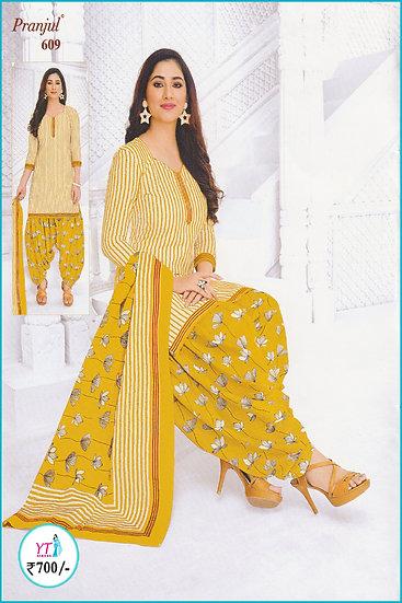 Pranjul Cotton Chudithar - Yellow D Floral YT