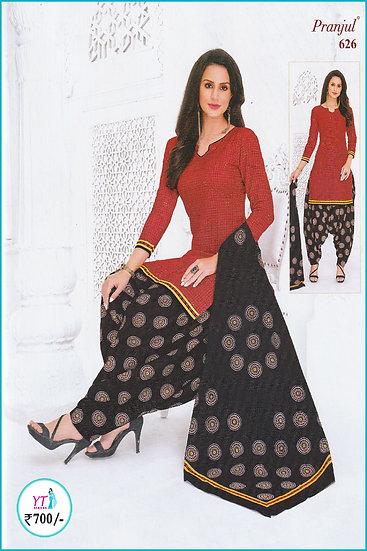 Pranjul Cotton Chudithar - Red Black Circle YT