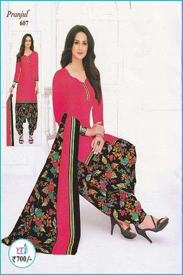 Pranjul Cotton Chudithar - Pink Black FloralYT