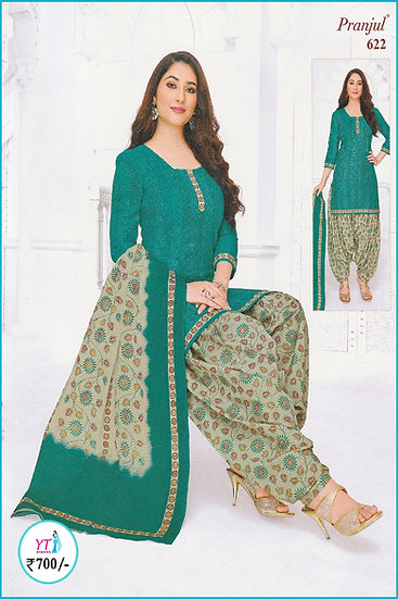 Pranjul Cotton Chudithar - Green D Floral YT