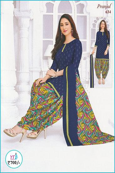 Pranjul Cotton Chudithar - Blue Mix Pattern YT