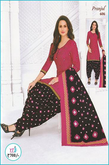 Pranjul Cotton Chudithar - Pink Black Spots YT