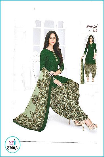 Pranjul Cotton Chudithar - Green D Pattern YT