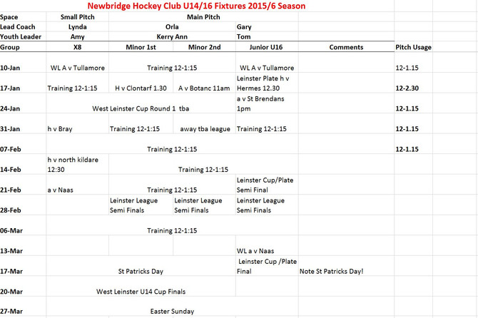 U14/16 fixtures for 2nd half of Season‏