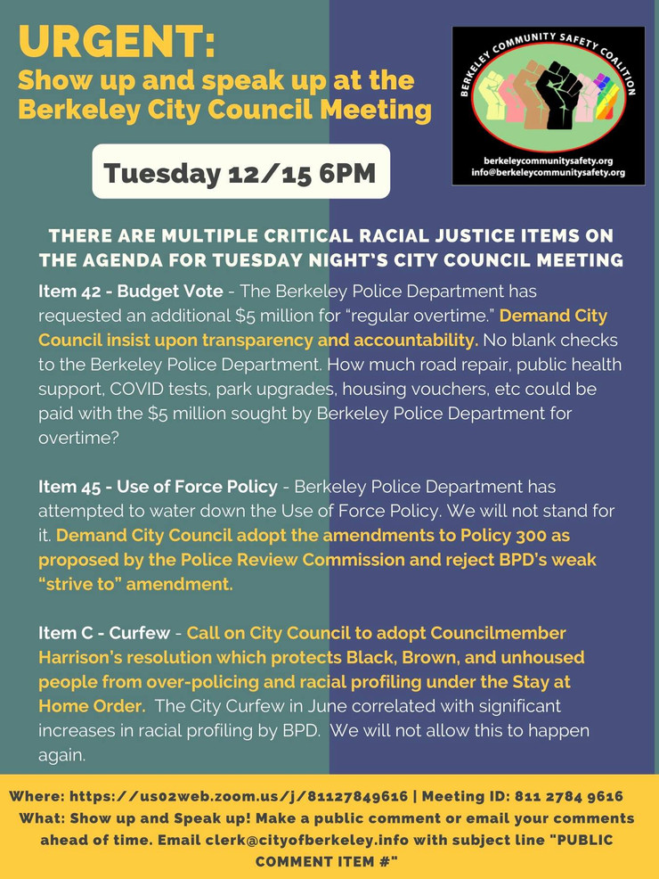ACTION ALERT:  There are multiple critical racial justice & policing items on the agenda for Tuesday