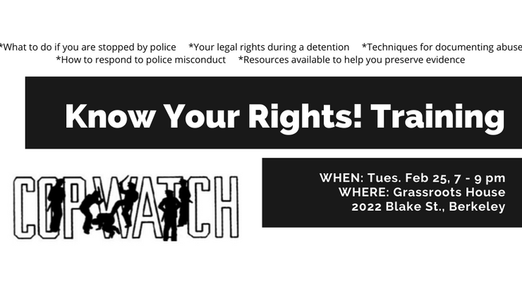 Tomorrow! Know Your Rights training