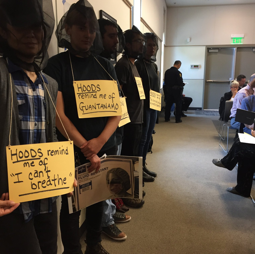 BCW Wears Spit Hoods to Support Ban