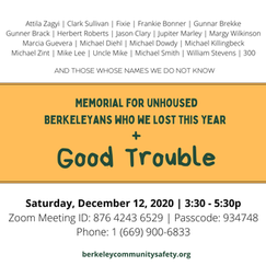 TOMORROW! Memorial to remember unhoused Berkeleyans who died this year