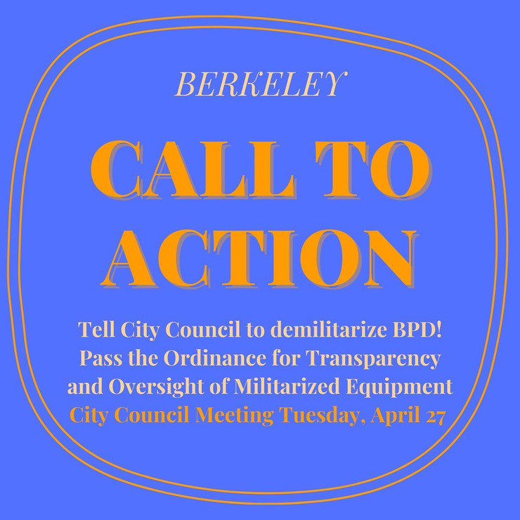 Tell the City Council to Demilitarize BPD! Watch Party Tuesday Evening 4/27
