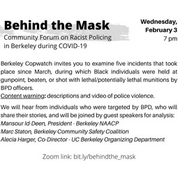 Behind the Mask: community forum on racist policing in Berkeley during COVID-19