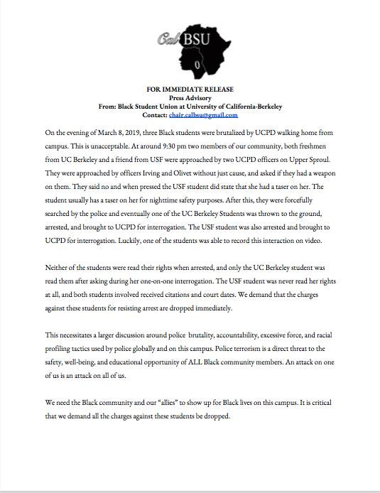 CAL BSU Press Release Regarding Black Students Thrown to Ground and Arrested on March 8