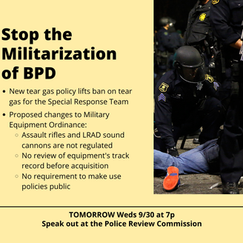 Stop the Militarization of BPD