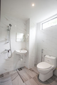 White Interior Designed Bathroom with Shower Mixer, Toilet Bowl, Basin and Mirror