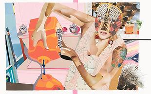 Domestic goddess, paper collage, 50x80cm