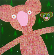 Teddy bear, mixed media on canvas, 150x1