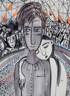 His side her side, mixed media on paper,