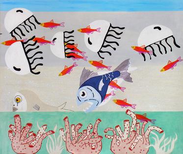 Fish tank, mixed media on canvas.png
