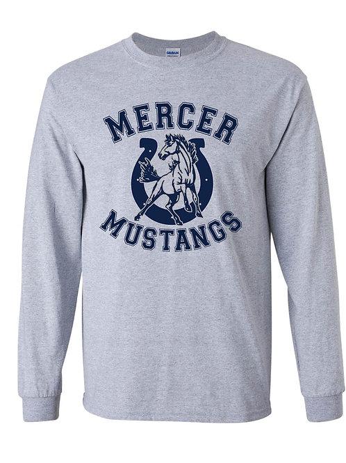 Gray Long Sleeve Mustang T-Shirt