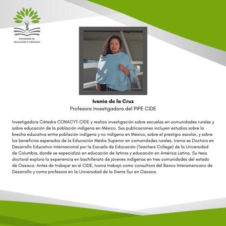 Dra. Ivania de la Cruz Orozco (PIPE-CIDE)