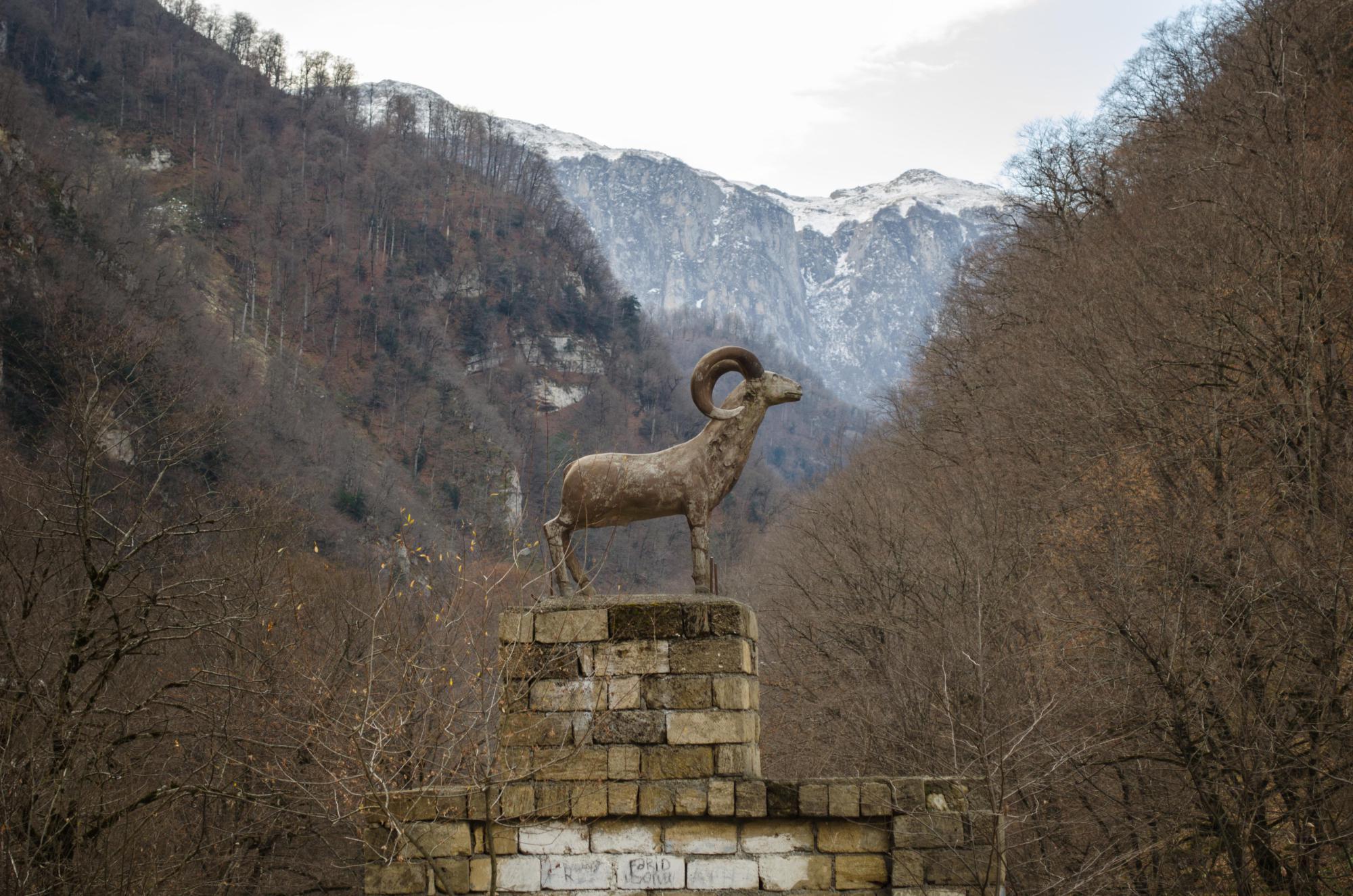 Mountain goat statue