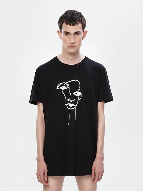Unisex Black Longline T-Shirt | The Kolorful Kreature