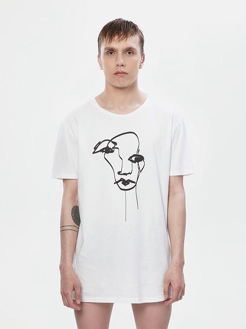 Unisex White Longline T-Shirt | The Kolorful Kreature