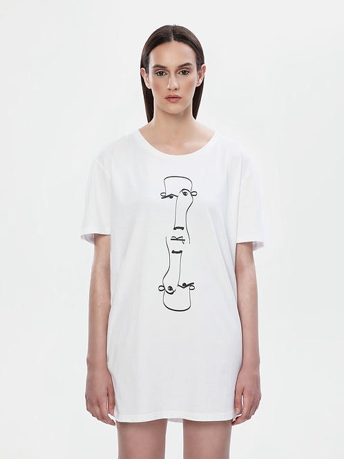 Unisex White Longline T-Shirt | The Koin Kreature