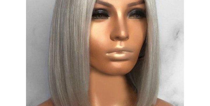 Grey Straight Lace Front Bob Wig
