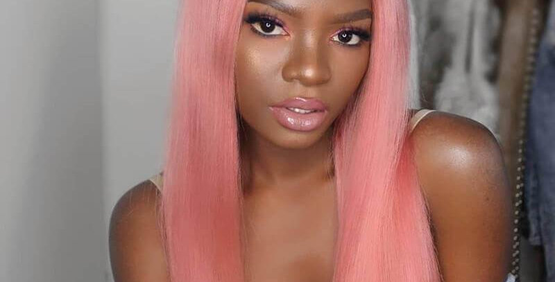 Pink Silky Straight Full Lace Wig