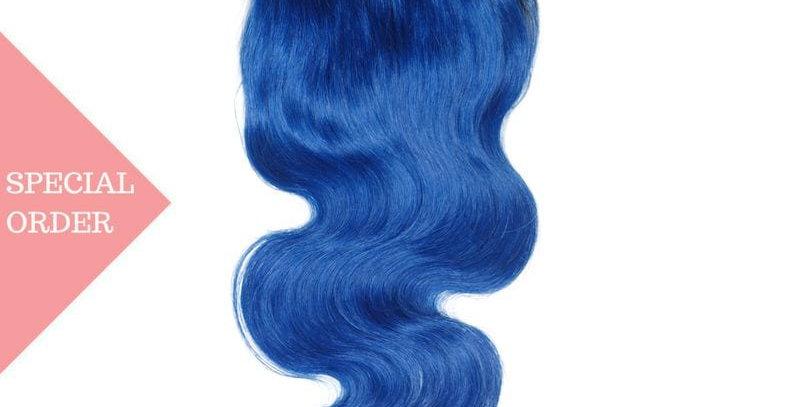Blue Ombre Body Wave Closure