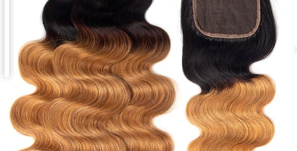 Honey Blonde Ombre Silky Straight 3 Bundle Deals