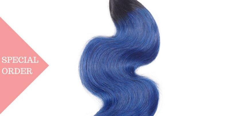 Blue Ombre Body Wave 3 Bundle Deals + Closure