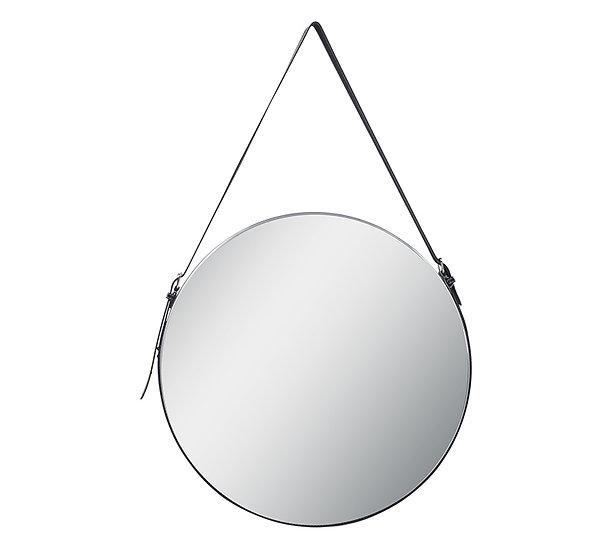 Στρογγυλός καθρέπτης με διακοσμητική δερματινη ζώνη, δ.50cm | ZAROS