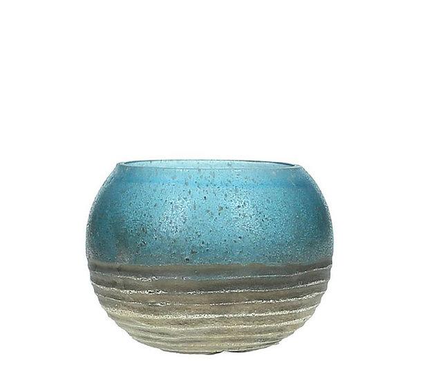 Γυάλινο κηροπήγιο σχ. Μπάλλα, μπλε/χρυσό Δ.8,5cm | ZAROS