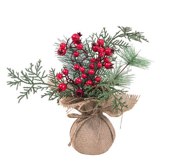 Δενδράκι κλαδιά έλατου & κόκκινα beries,50cm | ZAROS