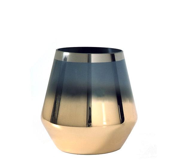 Γυάλινο οβάλ κηροπήγιο φυμέ/χρυσό 13,5cm | ZAROS