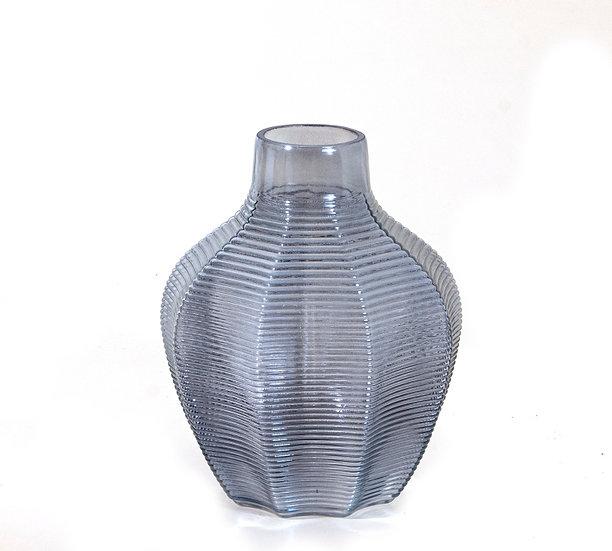 Γυάλινο βάζο ιριδίζον μπλε, 17.5x21cm | ZAROS