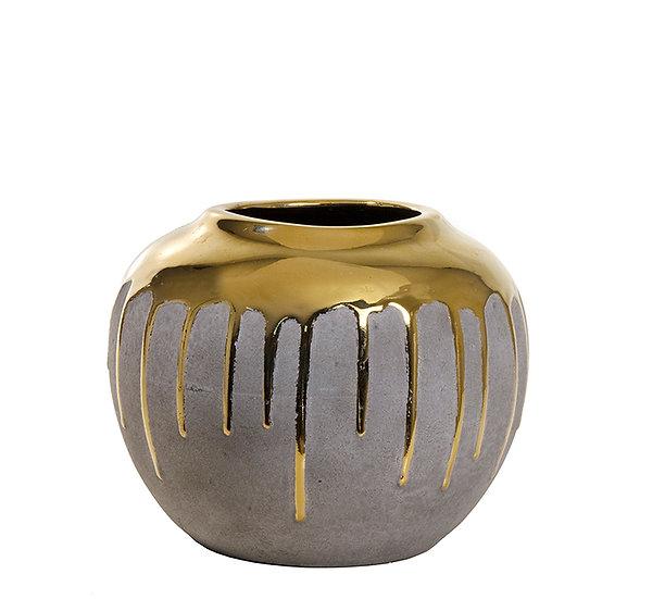Κεραμικό βάζο επίχρυσο με υφή τσιμεντοκονίας, 19x15cm | ZAROS