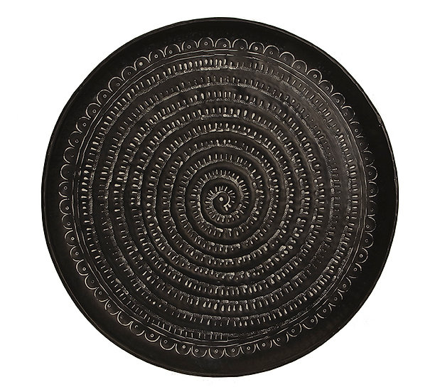Σφυρήλατος δίσκος αλουμινίου, μαύρος με λευκή πατίνα,48cm | ZAROS