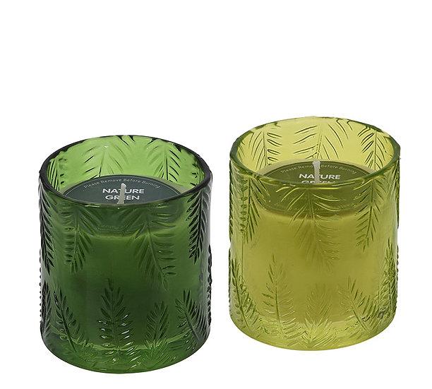 Κερί σε γυάλινο βαζάκι σχ.φύλλο, 2χρ.,8x9cm | ZAROS