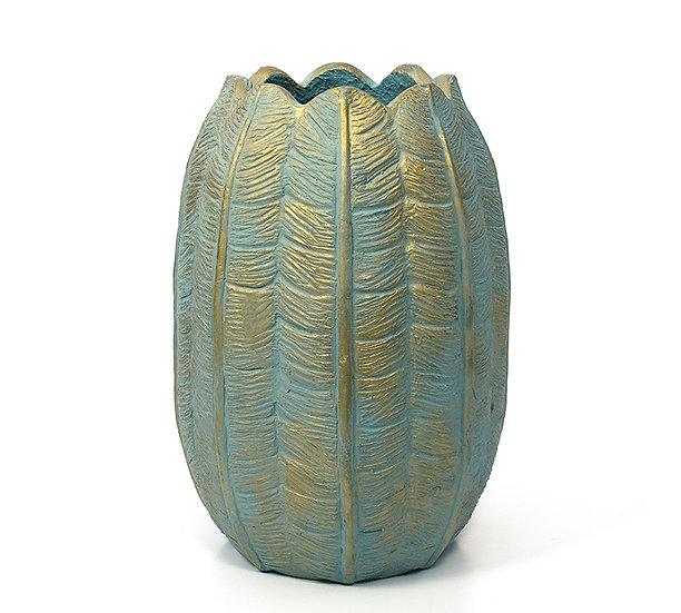 Οβάλ βάζο/κασπώ σχ.τουλίπα, τυρκουάζ & χρυσή πατίνα,38cm | ZAROS