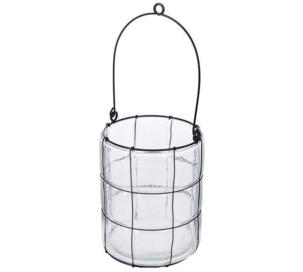 Γυάλινο κηροπήγιο/φανάρι με συρμάτινο πλέγμα 12,5cm | ZAROS