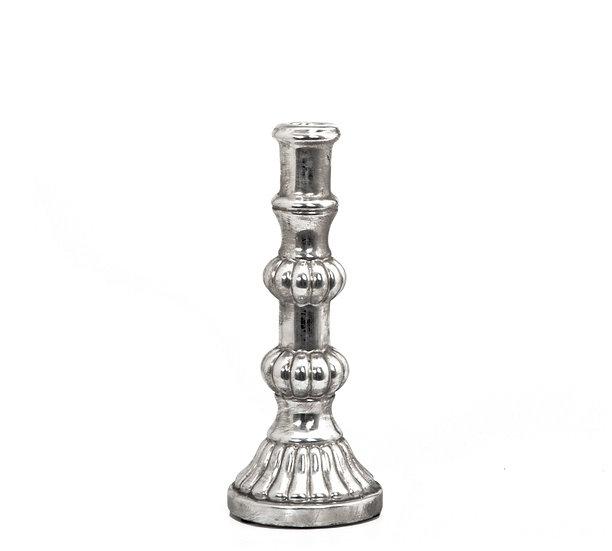 Κηροπήγιο σχ.μπουλ, με παλαιωμένο φινίρισμα ασημί, 28,5cm | ZAROS