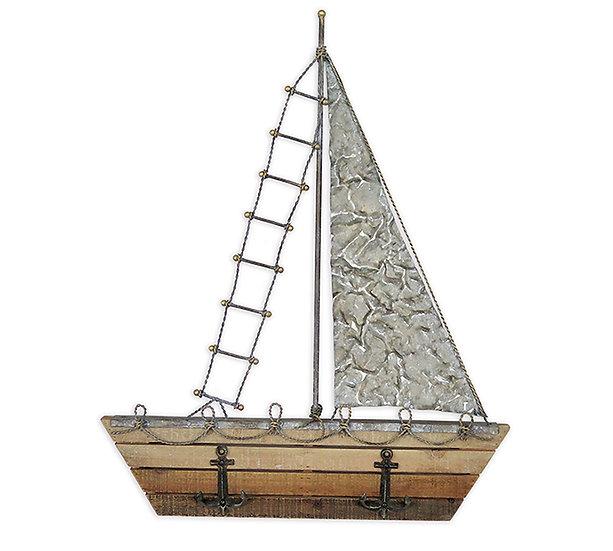 Διακοσμητικό καράβι τοίχου/τζακιού από ξύλο & σίδερο 63,5cm | ZAROS
