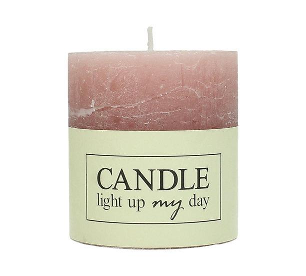 Κερί κορμός σαγρέ ροζ 7x7x7.5cm | ZAROS